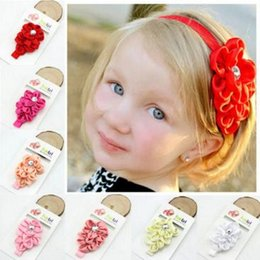 Baby Girls flower Headband for Photography props Fabric Satin Flower Headbands with Acryl diamond Diamond With Flower Girls Headbands