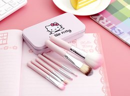 Wholesale Brand New Set Hello kitty Make Up Cosmetic Brush Kit Makeup Brushes Pink iron Case Toiletry beauty appliances makeup brush DHL Free