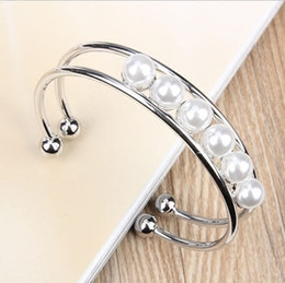 Fashion Rose Gold Bangles Bracelets Rings Bangle Silver Crystals Elegant Design 925 Rings Pearl Charms Wholesale Jewelry for Women Valentine
