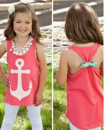 Wholesale-Scolour Hot! 1PC Baby Girl Backless Sleeveless Bowknot Anchor Printed Vest