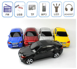 Wholesale BMW Car shaper LED Speaker for children gift Support TF Card U Dish MP3 Format and Ipod Mp3 MP6 player PC PHONE FM