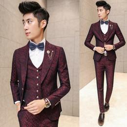 Wholesale 2016 New Arrival Red Suits Men Fancy Blazer Flower Printed Luxury Wedding Suits For Men Slim Fit Suits Stage Costumes Men Kostum