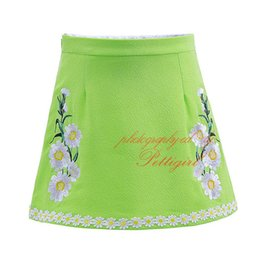 Hot Selling Pettirl Embroidery Girl Skirt Daisy Flowers American and European Style Green A-Line Knee-length Kids Clothes ST90312-687