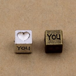 """200 pcs 7x7mm cube Beads """"I love you"""" beads antique silver and bronze color for opiton"""