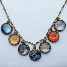 Wholesale 1 pc New Design Solar system moon necklace planet universe galaxy necklace antique brass pendant glass dome necklace