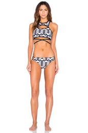 Wholesale Sexy Cut Out Swimsuits - Sexy Striped Bikini Set Girls Brazilian Bikinis Cut Out Bathing Suit Fashion Crop Top Tankini Hollow Out Sports Swimsuit Strappy Bra Bikini