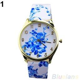 Women's Fashion Geneva Watch Analog Elegant Flowers Pattern Quartz Wrist Watches 08MA