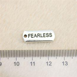 25Pcs 21*8mm antique Silver Tonefearless tag Charms Zinc Alloy DIY Handmade Jewelry Pendants Wholesale