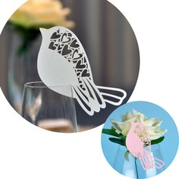 Laser Cut Small Bird Table Mark Escort Wine Glass Name Place Cards for Wedding Event Decoration Baby Shower Favor Party Supplies Decor