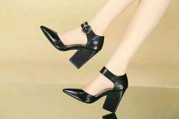 hot! fashion luxury women u615 34 black white pink genuine leather ankle strap pointy chunky heels shoes fashion designer ce