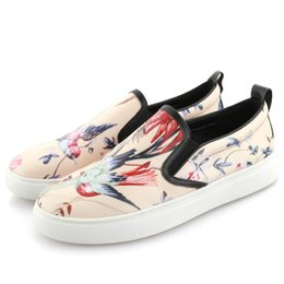 Wholesale luxury designer flats women casual shoes gg big size Bee bird Plant flowers printing stripe brand loafers girls real leather