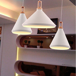 Wholesale Hot sell Nordic modern chandelier wooden bar restaurant table creative personality clothing store white aluminium lid single head Chandelier