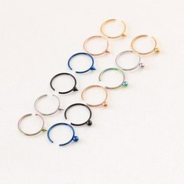 Wholesale Hoop Nose Ring Ball Cone Earring Fake Nose Stud Open G mm colorful Medical Nostril clip on nose Body Fake PiercingJewelry