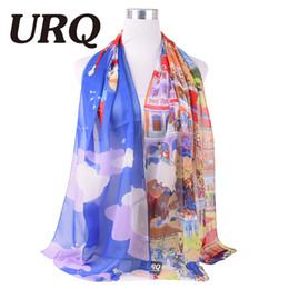 Promotion dame ville Vente en gros-50 * 160 nuage belle ville chiffon lumière écharpe polyester et foulard de soie pour femme et dames de mode design de marque de luxe 2016new
