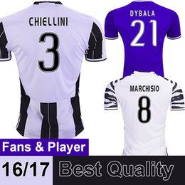 Wholesale 2016 TOP Thai Quality Juventus Soccer Jerseys DYBALA CHIELLINI HIGUAIN MARCHISIO Jerseys Home Away Third soccer uniforms Football Shirts