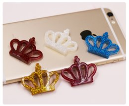 Wholesale Crown Cabochons - Free Shipping! 100 pieces per bag colorful glitter crown cabochons phone case decoration jewelly DIY accessories resin flat backs