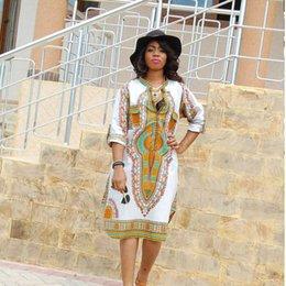 Племенные печатные издания Онлайн-Boho платья лета женщин Традиционные африканские Племенной печати Dashiki платья Bodycon клуб платье партии ОДЕЖДЫ