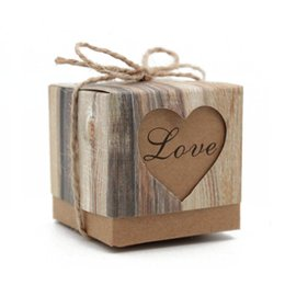 Wholesale 1000pcs Wedding Hearts in Love Rustic Kraft Imitation Bark Candy Box with Burlap Chic Vintage Twine Wedding Favor Gift Boxes ZA0971