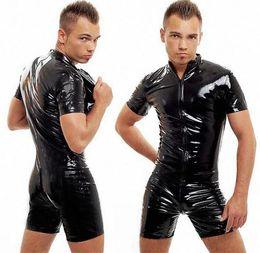 Wholesale-FREE PP Good Quality Male PVC Leather Teddy Bodysuit Open Crotch Zipper Jumpsuit Mens Fetish Latex Clubwear Catsuit Lingerie