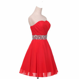 Red Short Chiffon Cocktail Dresses 2019 Newest Sweetheart Formal Party Dress Knee Length Homecoming Gowns Custom made