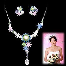 bright diamond crystal flower bride wedding set necklace earings yrty