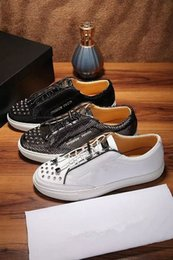 Wholesale Brand Designer Mens Geniune Leather Sneaker Shoes Mens Fashion Snakeskin Rivets Zipper Decorator Casual Shoes