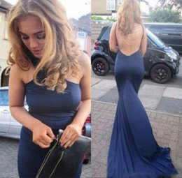 Backless Sexy Halter Corset Prom Dresses Mermaid Satin Chapel Train Prom Gowns Sleeveless Nude Back Long Evening Gowns Free Shipping
