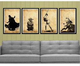Star Wars characters, Handmade Modern Abstract Oil Painting 4pc Canvas Art Wall Picture