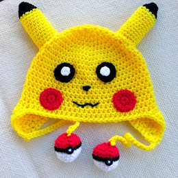 Wholesale Free Post Yellow Pikachu Hat Handmade Knit Crochet Baby Boy Girl Anime Cosplay Costume Kids Halloween Costume Toddler Photo Prop