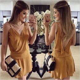 2016 summer new fashion women dresses sleeveless loose spaghetti strap mini bohemian v-neck solid dresses plus size