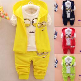 Wholesale Newest Autumn Clothes Sets Kids Vest T Shirt Pants Sets Children Suits Baby Girls Boys Minion Suits Infant Newborn