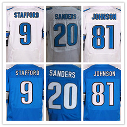 Wholesale Best Quality men s Matthew Stafford Barry cheap Sanders Johnson Stitched elite jersey White and blue size S XXXL