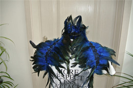 2 Layer royal blue feathers SHAWL Shrug Shoulder Feather cape vintage capelet for Adult decor halloween decor