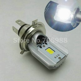 Wholesale 100 Genuine LED Motorcycle Headlight Bulbs H4 HS1 plug DC AC12V W LM High Low Beam Cree COB Moped Scooter Motobike lamp