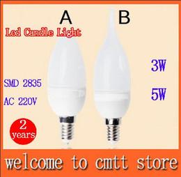 Promotion les types d'incendie x5pcs Livraison gratuite 3w LED 5W Candle light E14 SMD 2835 Led lampe AC220V type rond / feu angle 360 du faisceau 2 ans de garantie