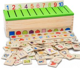 Wholesale Baby Toys Montessori Knowledge Classification Box Wooden Toys Educational Early Learning Toys Digital Animal Blocks