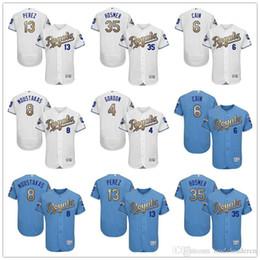 Wholesale 2016 Flexbase KC Royals Alex Gordon Lorenzo Cain Mike Moustakas Eric Hosmer Salvador Perez Champions Gold Kansas City Baseball Jerseys