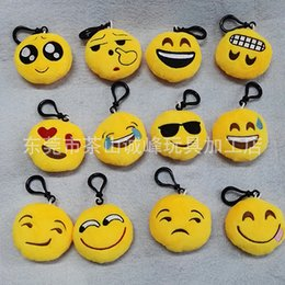 Wholesale Stuffed Plush doll toy Yellow QQ Expression Fashion New cm Emoji Smiley for Mobile bag pendant