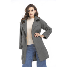 2017, autumn and winter, new European and American women's cashmere long sleeves, solid color lapel, long length coat coat, female