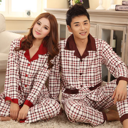Wholesale-Lovers sleepwear 2016 autumn winter long-sleeve Casual lovers home clothing couples matching pajamas adult plaid pajamas sets