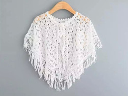 Wholesale Cape Jackets For Kids - New Baby Girls Lace Cape Poncho 2016 Summer Children Sleeveless vest for Kids Clothing New Girls Tassels Jacket