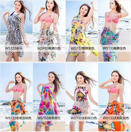 Wholesale Chiffon Beach Smock Towel Wrap Bohemian Bikini Cover Ups Sarong Braces Skirt Beach Dress Sunscreen Shawl Beachwear Swimdress Scarf A734