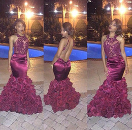Wholesale 2016 Burgundy Sleeves Fllower Fabric Halter Neck Mermaid Backless Taffeta Crystal Lace Prom Dresses Lace Taffeta Evening Party Gowns