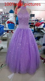 Lavender Lace Tulle Ball Gown Halter Neck Sequined Floor Length Prom Evening Dress With Appliques Elegant Vestido