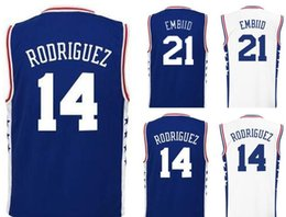 Wholesale 2016 Printed Sergio Rodriguez Jerseys Shirt Uniforms Home Blue White Joel Embiid Jersey Men Fashion Breathable Rev New Material