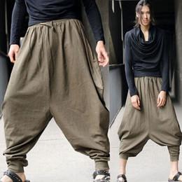 Wholesale Men s Vintage Green Hippy Boho Aladdin Harem Wide leg Ninja Pants Trousers Cotton Yoga Casual Nepal Mens Full Length Pants