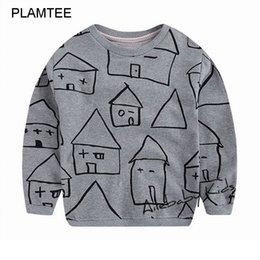 Wholesale 2016 Autumn New Moleton Infantil Boys Girls Children Clothing Unisex Sweatshirts T Shirt Lovely House Printed Hoody for Kids Top