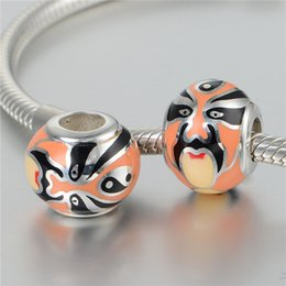 Wholesale GW Beijing Opera Makeup Charms beads made from sterling silver fit pandora style bracelets for women masks jewelry No70 lw D134
