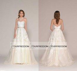 Wholesale 2016 Joy Eugenia Bohemian Long Wedding Dresses Sweetheart Neck Lace Appliques Belt Plus Size Vintage Ivory Bridal Dresses A Line Custom Made