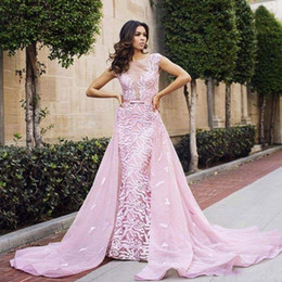2017 Pink Evening Dresses Long Embroidery Illusion Sheath Inner Prom Dress with Detachable Train Organza Celebrity Pageant Dress